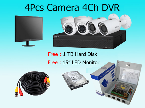4 High Resolution Cameras Package with Monitor